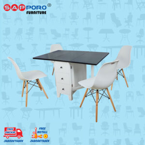 Distributor Jual Dining Set Meja Makan Set SAPPORO ALICE - BLACK WHITE 1