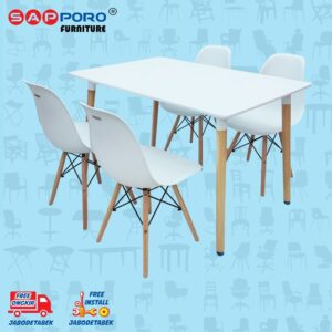 Distributor Jual Dining Set Meja Makan Set SAPPORO MONA - Double White (1)