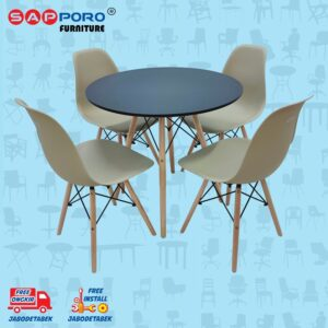 Distributor Jual Dining Set Meja Makan Set SAPPORO MUNDOO - Black & Brown (1)