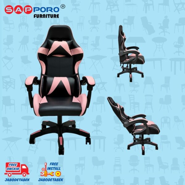 Distributor Jual Gaming Chair Kursi Gaming SAPPORO NORWICH - Black & Pink (1)