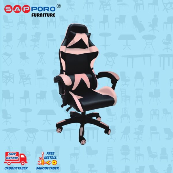 Distributor Jual Gaming Chair Kursi Gaming SAPPORO NORWICH - Black & Pink (2)