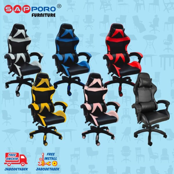 Distributor Jual Gaming Chair Kursi Gaming SAPPORO NORWICH - Black & Pink (3)