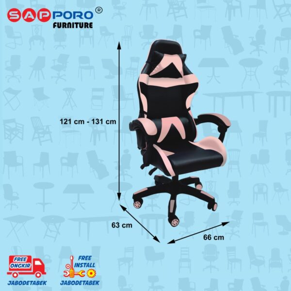 Distributor Jual Gaming Chair Kursi Gaming SAPPORO NORWICH - Black & Pink (4)
