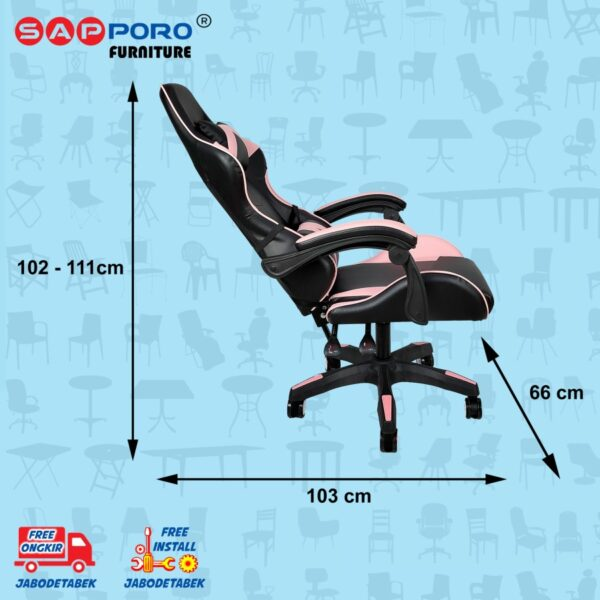 Distributor Jual Gaming Chair Kursi Gaming SAPPORO NORWICH - Black & Pink (5)