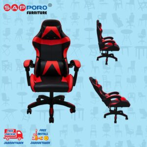 Distributor Jual Gaming Chair Kursi Gaming SAPPORO NORWICH - Black & Red (1)