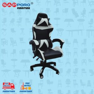 Distributor Jual Gaming Chair Kursi Gaming SAPPORO NORWICH - Black & White (2)