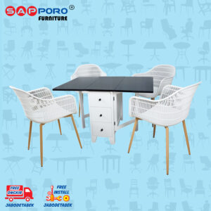 Distributor Jual Dining Set Meja Makan Set SAPPORO BROOME - BLACK WHITE 1