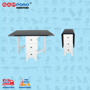 Distributor Jual Dining Set Meja Makan Set SAPPORO BROOME - BLACK WHITE 2