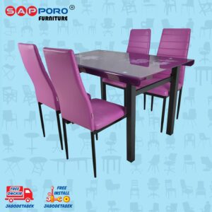 Distributor Jual Dining Set Meja Makan Set SAPPORO PERTH - Purple (1)