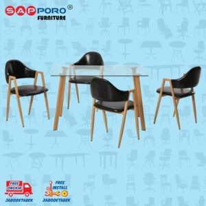 Distributor Jual Dining Set Meja Makan Set Sapporo SAP DS-1008 - Black (1)
