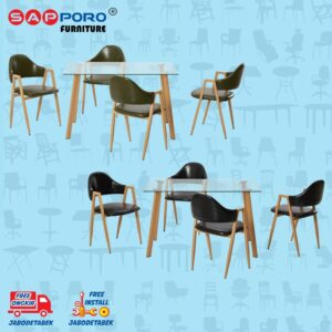 Distributor Jual Dining Set Meja Makan Set Sapporo SAP DS-1008 - Black (2)