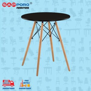 Distributor Jual Eames Table Meja Makan Bulat Meja Cafe SAPPORO CARRAI - Black 1