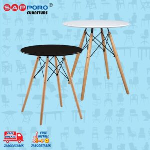 Distributor Jual Eames Table Meja Makan Bulat Meja Cafe SAPPORO CARRAI - Black 2