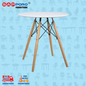 Distributor Jual Eames Table Meja Makan Bulat Meja Cafe SAPPORO CARRAI - White 1