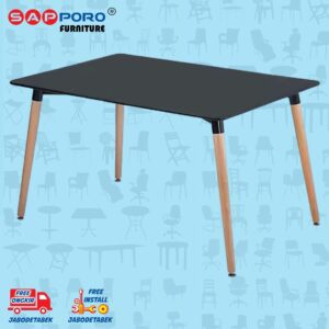 Distributor Jual Eames Table Meja Makan Meja Cafe SAPPORO CARNHAM - Black 1