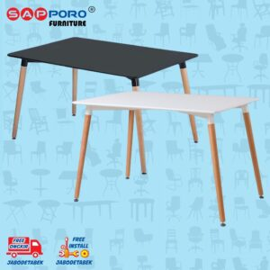 Distributor Jual Eames Table Meja Makan Meja Cafe SAPPORO CARNHAM - Black 2
