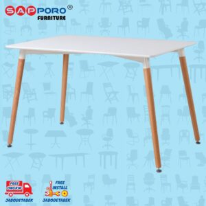 Distributor Jual Eames Table Meja Makan Meja Cafe SAPPORO CARNHAM - White 1