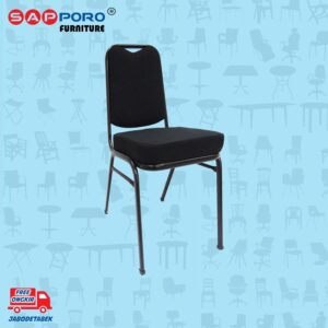 Distributor Jual Kursi Susun Sapporo KS 33 Black Coating - ( Black - Fabric ) (1)