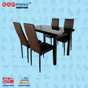 Distributor Jual Dining Set Meja Makan Set SAPPORO PERTH - Brown 1