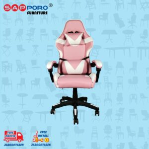 Distributor Jual Gaming Chair Kursi Gaming SAPPORO NORWICH - Pink White 2