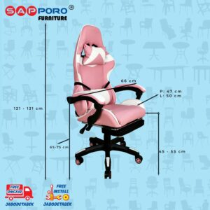 Distributor Jual Gaming Chair Kursi Gaming SAPPORO THANET - Pink & White 4