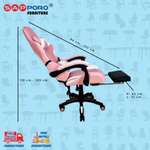 Distributor Jual Gaming Chair Kursi Gaming SAPPORO THANET - Pink & White 5