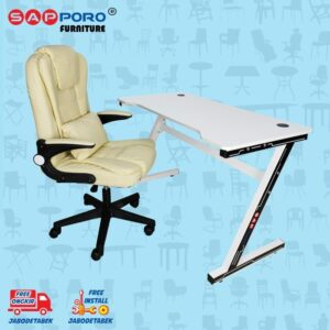 Distributor Jual MEJA BELAJAR SET MEJA LAPTOP SET SAPPORO CANTON - Cream & White 1