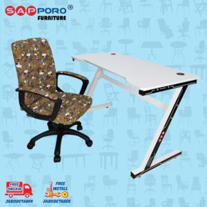 Distributor Jual MEJA BELAJAR SET MEJA LAPTOP SET SAPPORO MORIN - Cartoon & White 1
