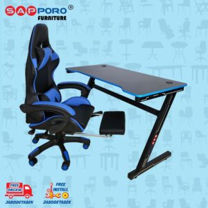 Distributor Jual Meja Set Gaming Set Gaming Desk SAPPORO OXTON - Blue & Black 1