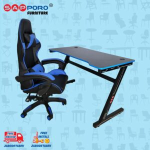 Distributor Jual Meja Set Gaming Set Gaming Desk SAPPORO OXTON - Blue & Black 2