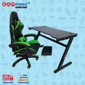 Distributor Jual Meja Set Gaming Set Gaming Desk SAPPORO OXTON - Green & Black 1
