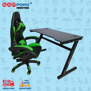 Distributor Jual Meja Set Gaming Set Gaming Desk SAPPORO OXTON - Green & Black 2