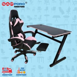 Distributor Jual Meja Set Gaming Set Gaming Desk SAPPORO OXTON - Pink & Black 1