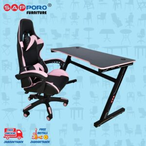 Distributor Jual Meja Set Gaming Set Gaming Desk SAPPORO OXTON - Pink & Black 2