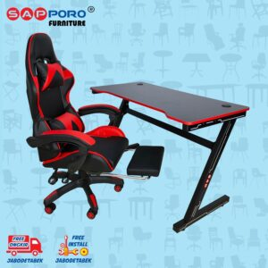 Distributor Jual Meja Set Gaming Set Gaming Desk SAPPORO OXTON - Red & Black 1