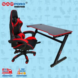 Distributor Jual Meja Set Gaming Set Gaming Desk SAPPORO OXTON - Red & Black 2