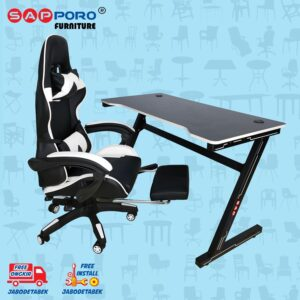 Distributor Jual Meja Set Gaming Set Gaming Desk SAPPORO OXTON - White & Black 1