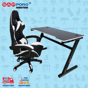 Distributor Jual Meja Set Gaming Set Gaming Desk SAPPORO OXTON - White & Black 2