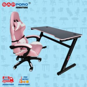 Distributor Jual Meja Set Gaming Set Gaming Desk SAPPORO Saxton - Pink & Black 1