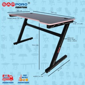 Distributor Jual Meja Set Gaming Set Gaming Desk SAPPORO Saxton - Pink & Black 2