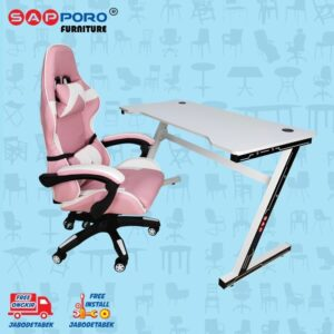 Distributor Jual Meja Set Gaming Set Gaming Desk SAPPORO Saxton - Pink & White 1