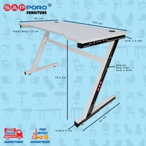 Distributor Jual Meja Set Gaming Set Gaming Desk SAPPORO Saxton - Pink & White 2